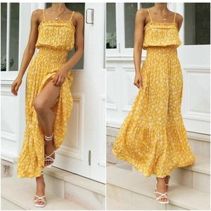 yellow floral print smocked ruffle cami maxi dress